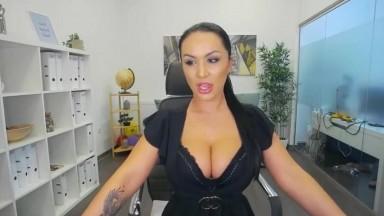 Hot busty milf striptease in the office