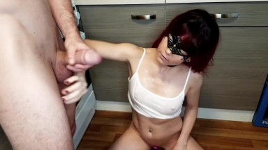 Closure view of muscle couples fuck in the kitchen