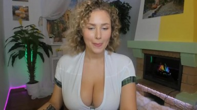 Huge boobs blonde is so slutty in her costume