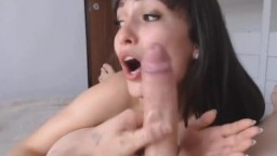 Dark Haired Chick Sucks and Rides a Huge Cock