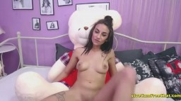 Cute Teen Rides Teddy Bear