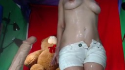 Squirting Dildo Filling Her with Cum Overflow www.LiveCamFreeChat.com