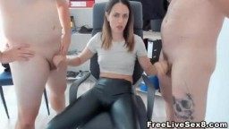 Hot Cougar and herCamel toe Jerks on two Cock