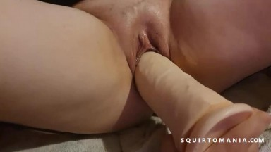 Hot Amateur MILF Squirting on Big Dick Maniac