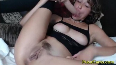 Sexy Brunette Teen Double Dildo Anal and Pussy Fuck