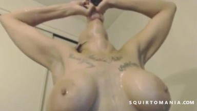 Sexy Brunette With Dildo Has Herself Covered In Squirt