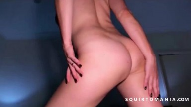 Busty Blonde Shaved Wet Pussy Squirt in Closeup