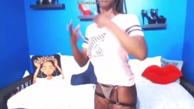 TikTok Music and Twerking Naked an American College Black Girl Porn Addict