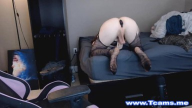 Sexy Cute Tgirl Loves Jerking On Her Chair