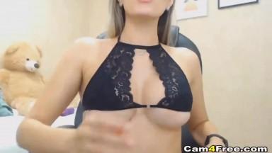 Natural Tit Babe Rides Big Dildo