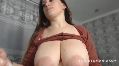 FULL GLASS of MILK SQUIRTING from Big Natural Tits