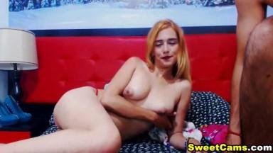 Hot Ginger Head Babe Sucking Boyfriend Cock