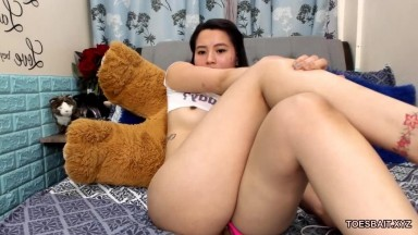 Sweet naive asian babe masturbation